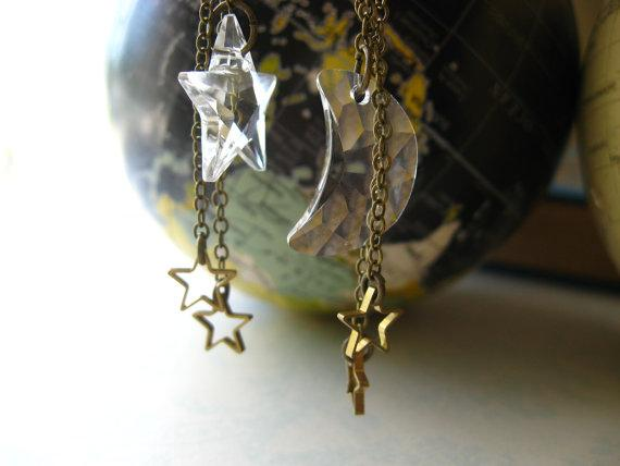 Moon and Stars Earrings Celestial Swarovski by MySelvagedLife
