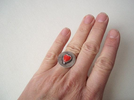 Industrial Heart Ring Red Glass Heart in Sterling by CStarStudio