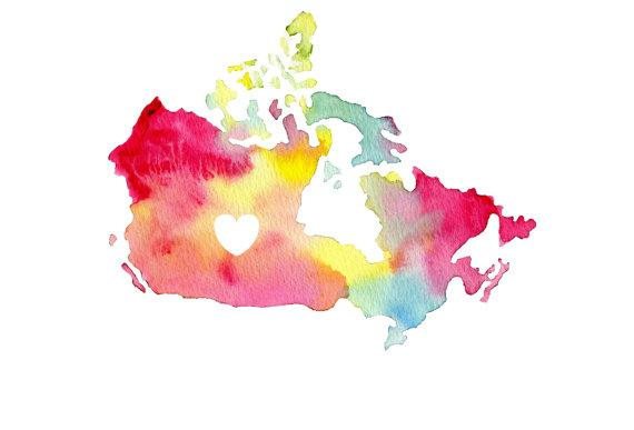 i love canada watercolor map print 85 x 11 by audreyandgem on Etsy