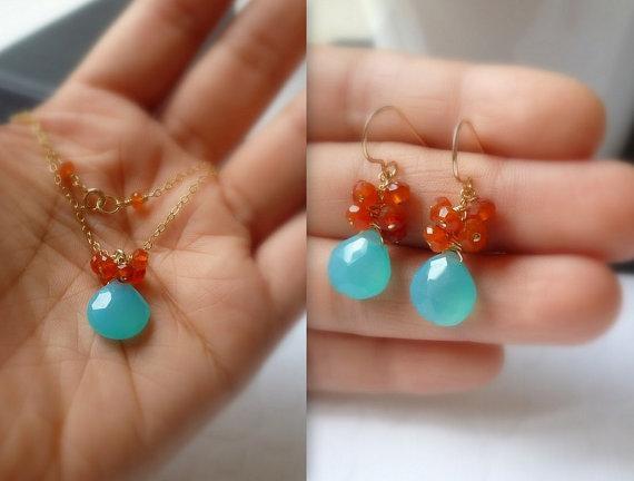 Aqua Blue Chalcedony Carnelian Cluster Earrings by bijouxbydesif