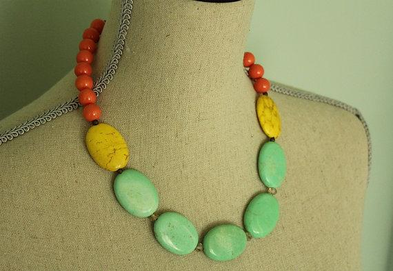 Modern Statement Necklace sherbert colors yellow by tortugasdesign
