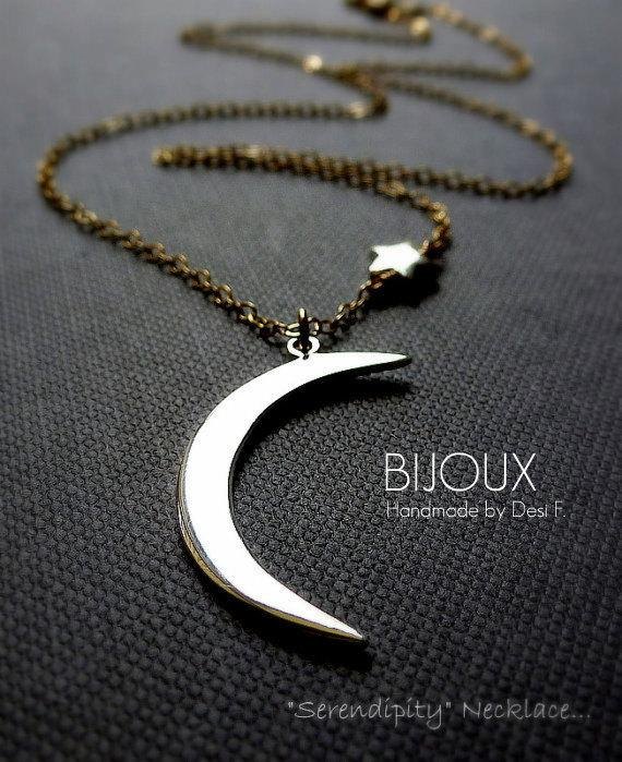Crescent Moon and Star Necklace Mixed Metal 14K by bijouxbydesif