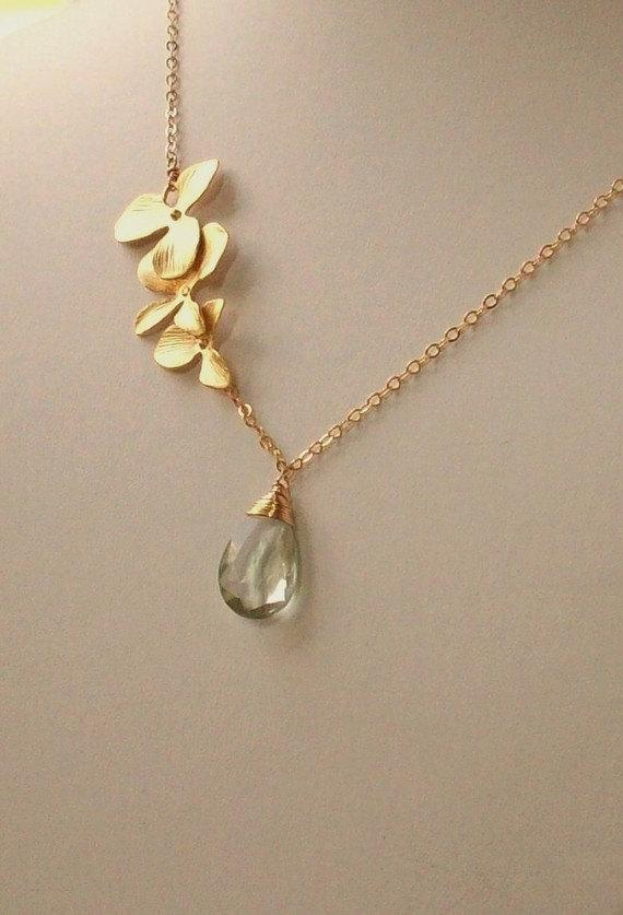 Green Amethyst Prasiolite Orchid Flowers Gold by bijouxbydesif