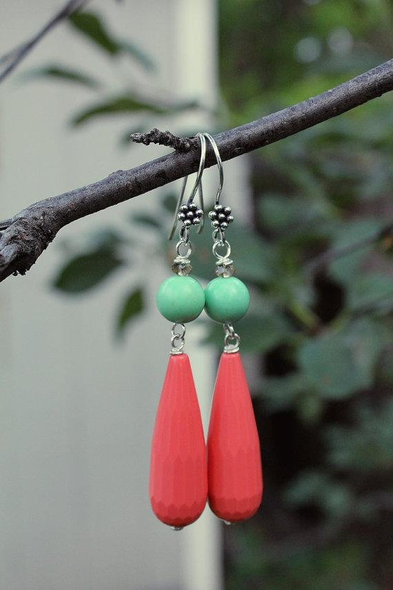 Megan Earrings Mint and Coral Dangles simple by tortugasdesign
