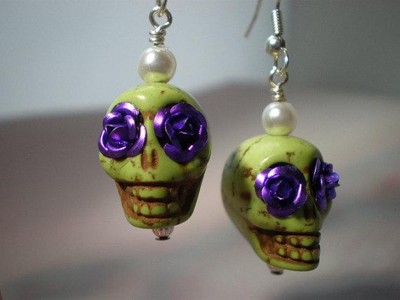 Lime Green and Purple Day of the Dead EarringsFree USA by Bonewear