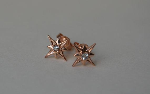 Rose Gold Star Stud Earrings with Aquamarines by yvonneraley