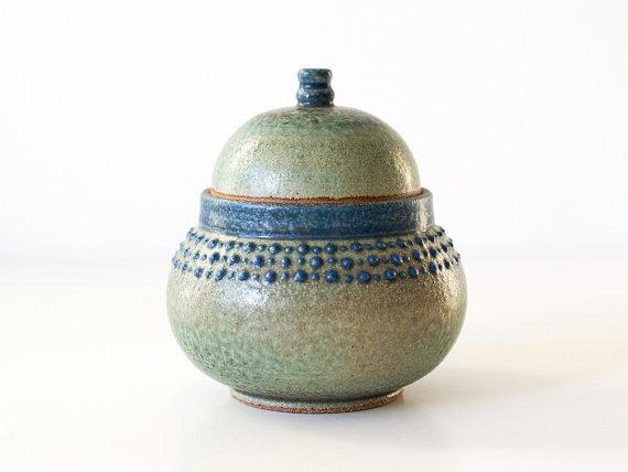 Ancient Turquoise Jar with Blue Spots Stoneware by DiTerra on Etsy