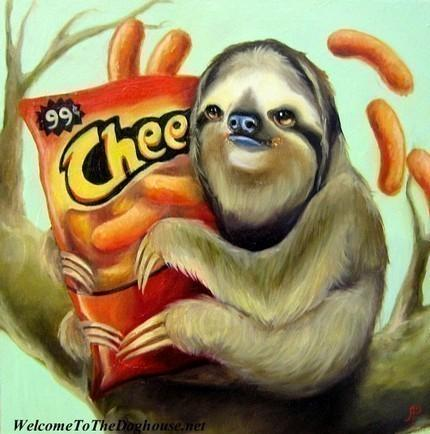 Sloth with Cheetos Print by WelcomeToTheDoghouse on Etsy
