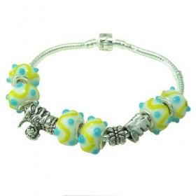 Pandora Sterling Yellow And Blue Murano Glass Charm Bracelet