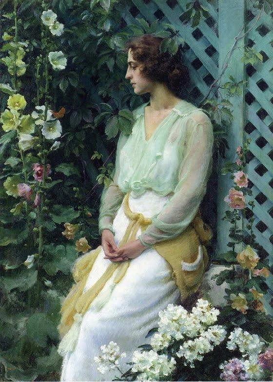 Charles Courtney Curran - Green Lattice (1919)