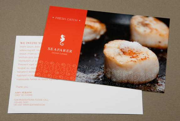 Seafood Restaurant Postcard Template Sample | Inkd