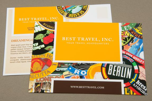 Travel Agency Postcard with Stamp Motif Template Sample | Inkd