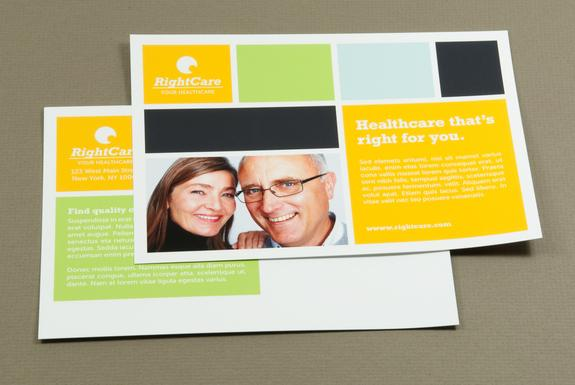 Healthcare Postcard with Colored Squares Template Sample | Inkd