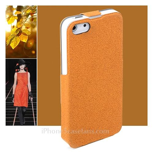 ROCK Eternal Flip Case for iPhone 5 with Orange Leather Hard Cover- iphone5casefans.com