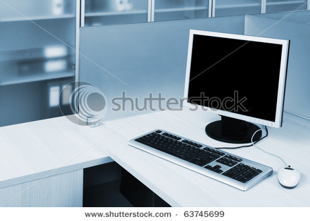 Computer Behind The Glass In A Modern Office Stock Photo 63745699 : Shutterstock