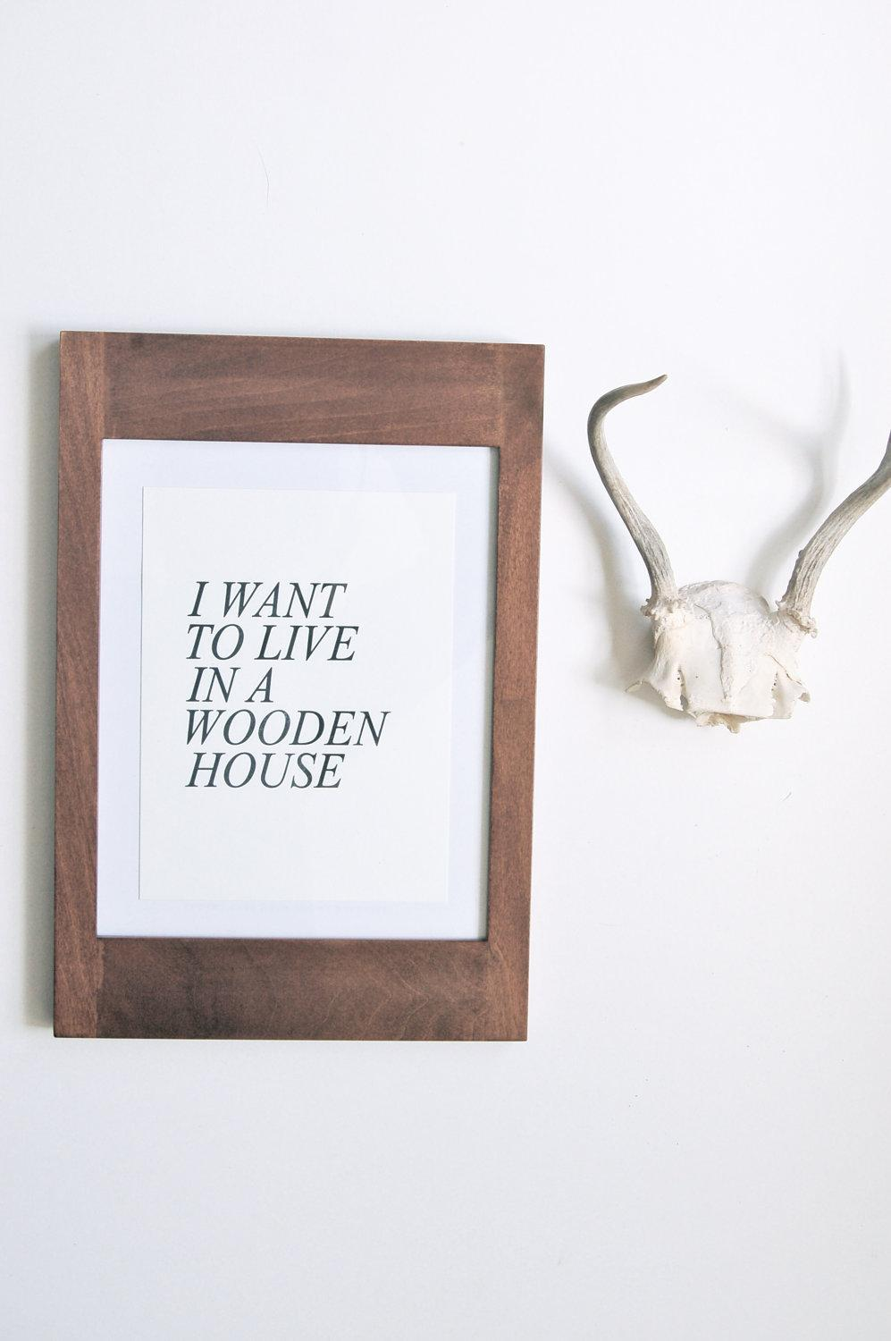 Wooden House Letterpress Print by inhauspress on Etsy
