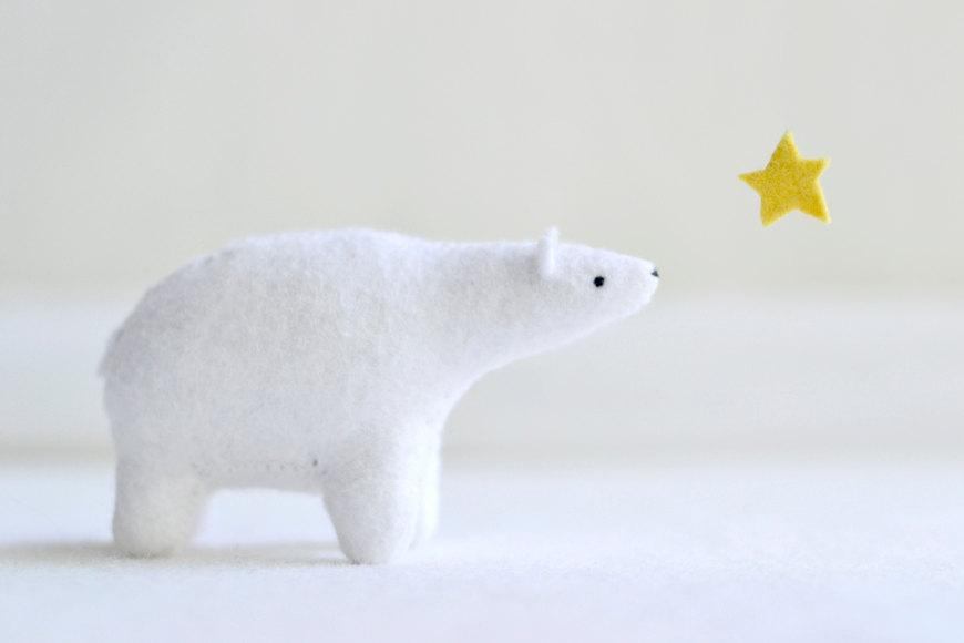 polar bear felt plush soft sculpture animal by MountRoyalMint
