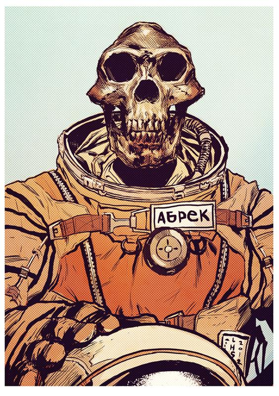 Abrek the cosmonaut (in full color) by ~bumhand