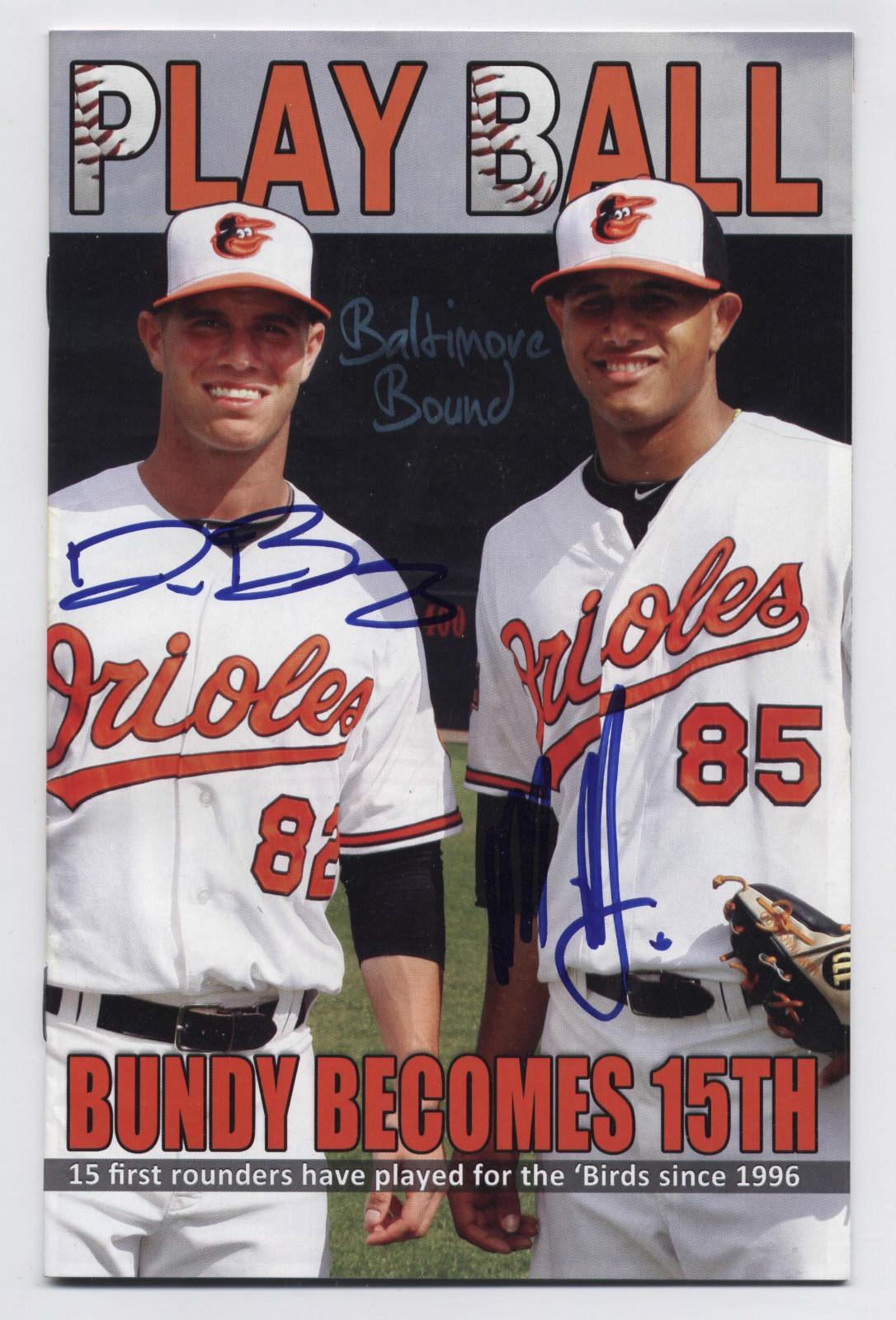 2012 Delmarva Shorebirds Signed Program Dylan Bundy Manny Machado Dual Auto | eBay