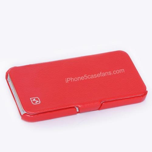HOCO Calf Leather Case for iPhone 5 with Side Flip Red Cover - iphone5casefans.com