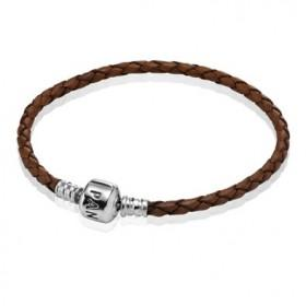 Pandora Twisted Brown Leather Cord Charm Bracelet /Necklace