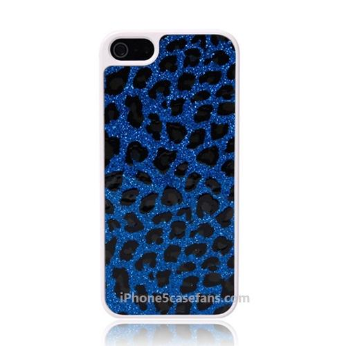 Glitter Leopard Case for iPhone 5 with Blue Cover - iphone5casefans.com