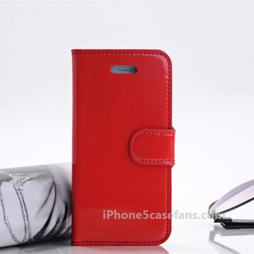 Watermark Side Flip Case for iPhone 5 with Red Back Cover - iphone5casefans.com