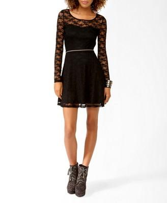 Long Sleeve Lace Skater Dress | FOREVER21 - 2025102113