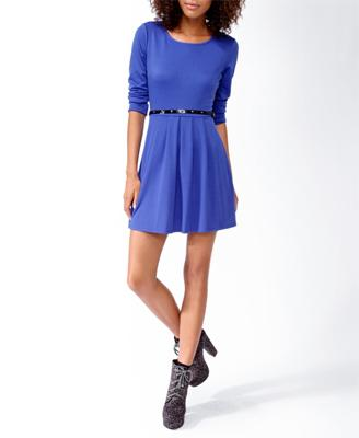 Pleated Skater Dress w/ Belt | FOREVER21 - 2021839962