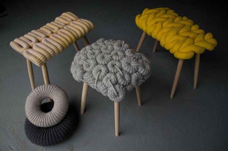Knitted Stools Knitted Stools Design by Claire Anne O'Brien