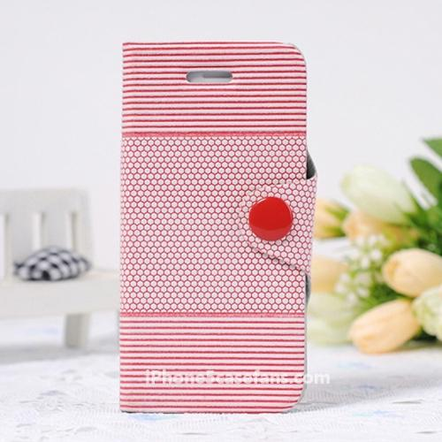 Side Flip Case for iPhone 5 with Red Korean Style Cover- iphone5casefans.com