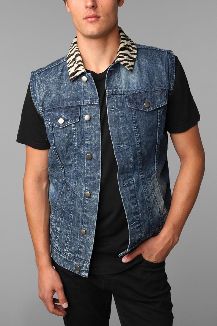 Black Apple Jungle Denim Vest - Urban Outfitters