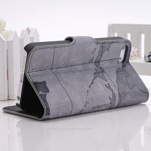 Gray Map Leather Case for iPhone 5 with Flip Cover - $12.56 : iphone5casefans.com