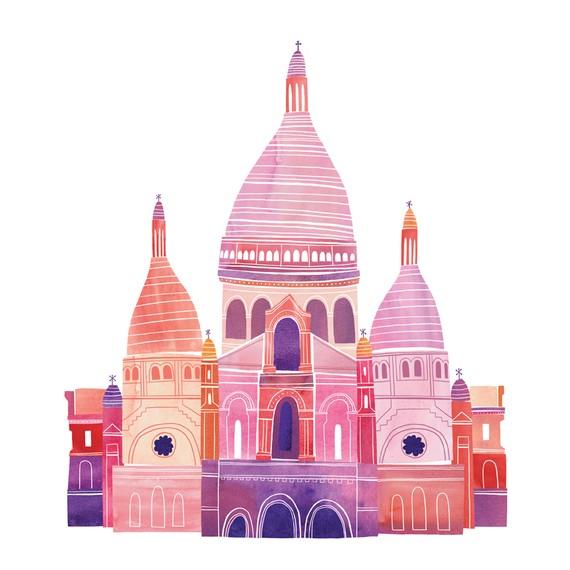 Sacre Coeur Illustration 12 x 12 Digital Print by marisamidori