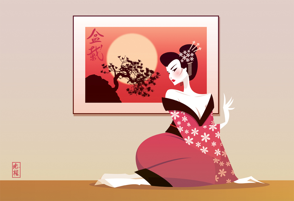 The Stanley Chow Print Shop — Geisha Girl and the Bonsai