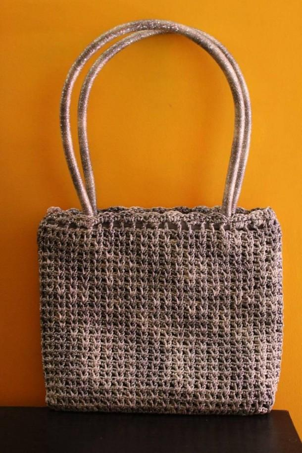Silver Grey Crochet Bag - Craftsia - Indian Handmade Products & Gifts