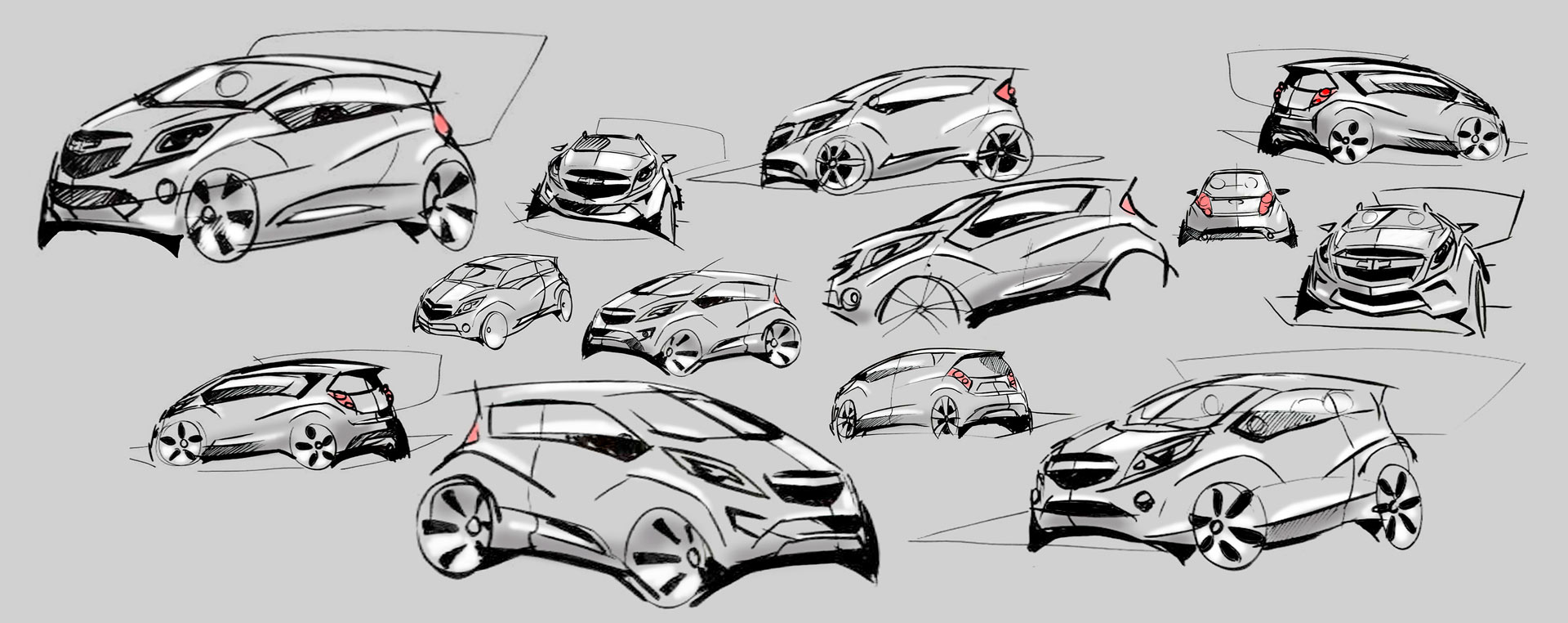 Chevrolet Spark Design Sketches - Car Body Design