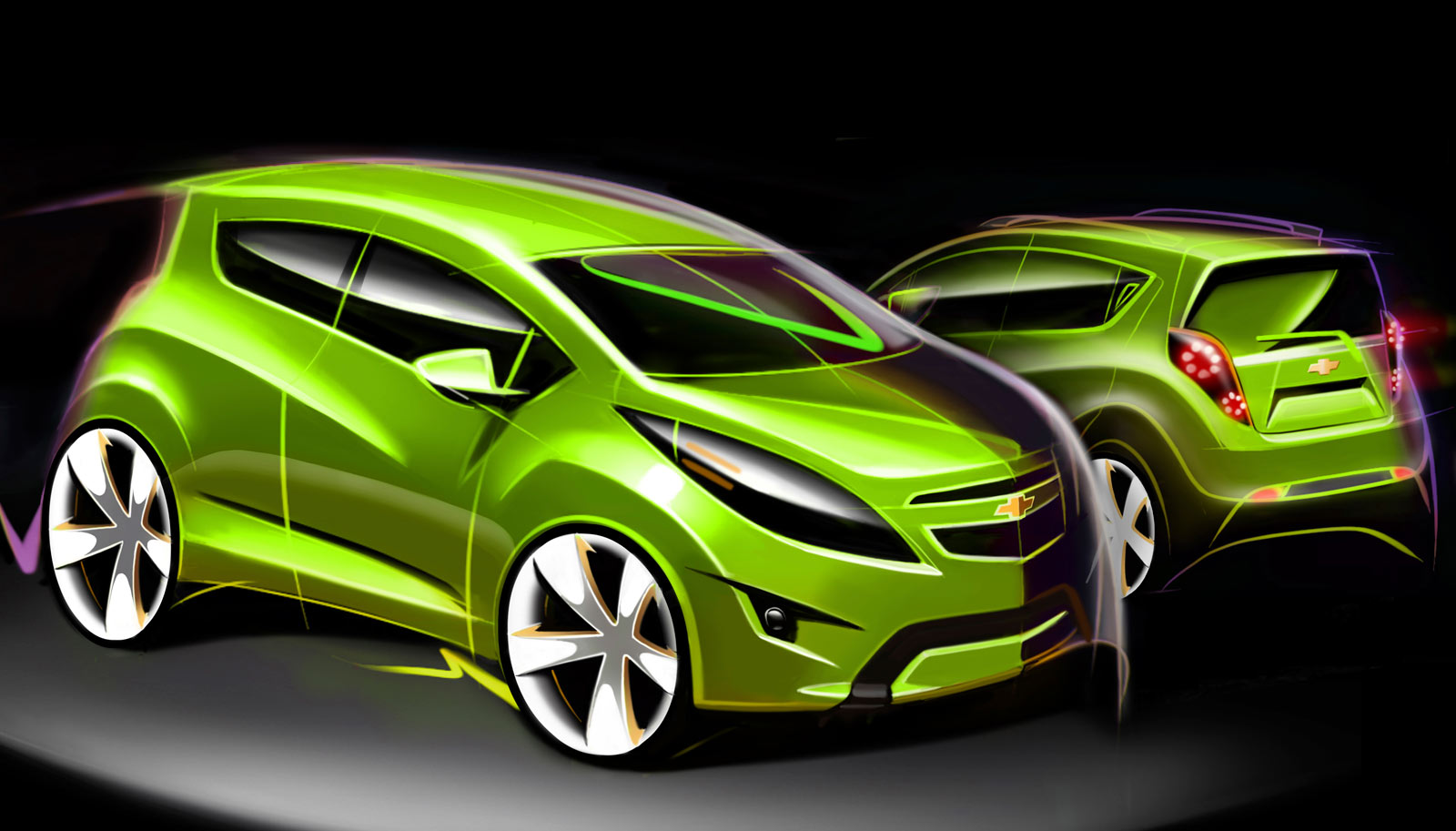 Chevrolet Spark Design Sketch - Car Body Design