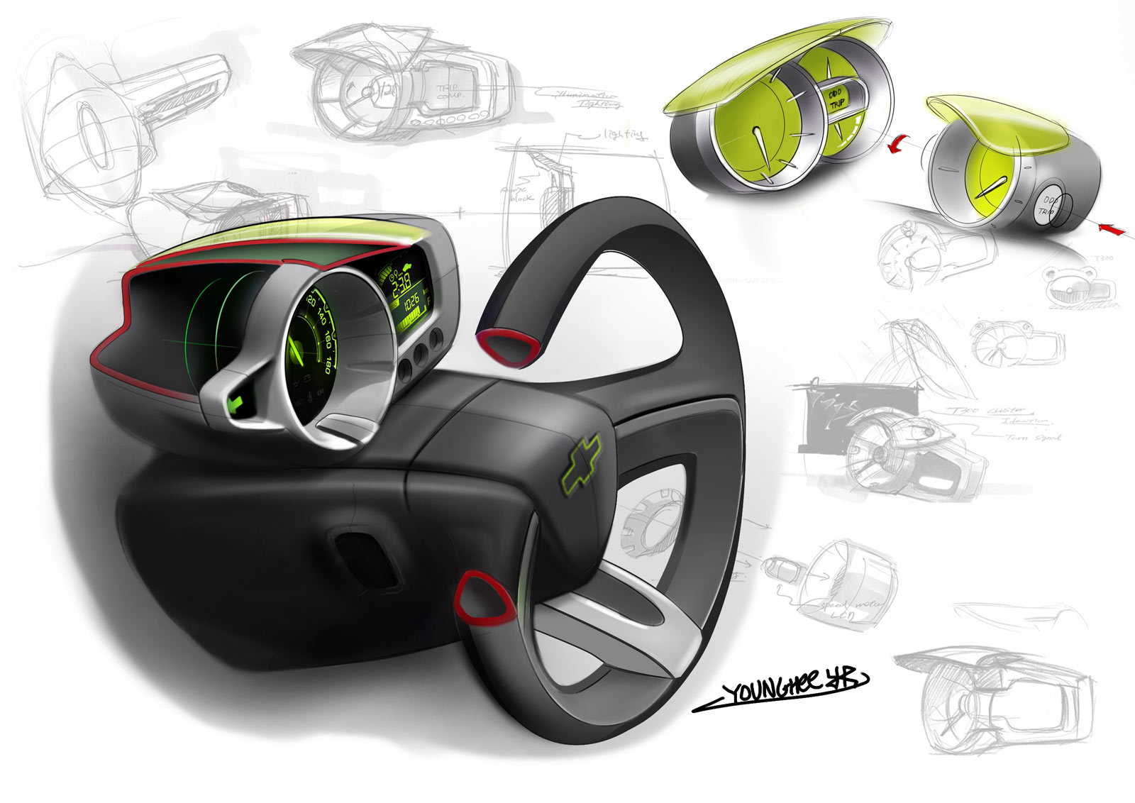 Chevrolet Spark Interior Design Sketch - Car Body Design