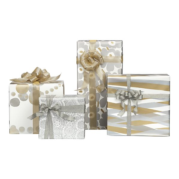 Marimekko Gold and Silver Gift Wrap in Gift Wrap, Gift Tags | Crate&Barrel