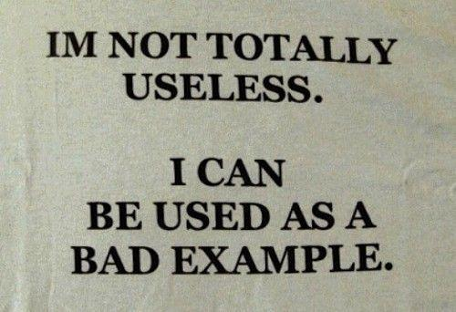 I'm not totally useless. I can be used as a bad example.