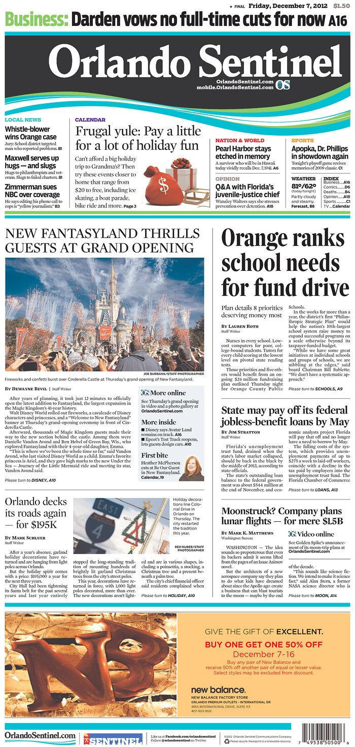 Newseum | Today's Front Pages | Orlando Sentinel