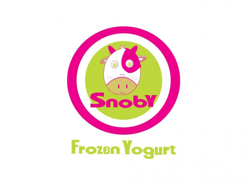 Yogurt Drink Logo Snoby Frozen Yogurt Vector