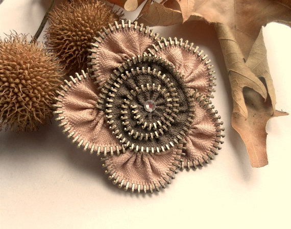Flower Brooch Apricot and French brown Zipper Pin by ZipperDesign