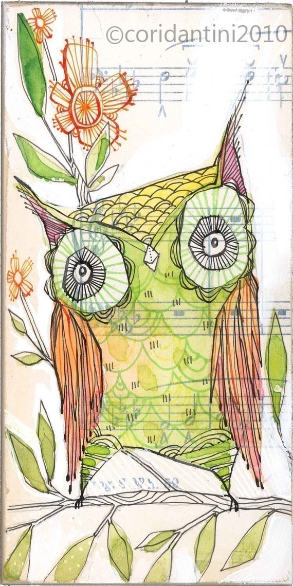 ON SALE archival green owl print bird art 5 x 10 inches by corid