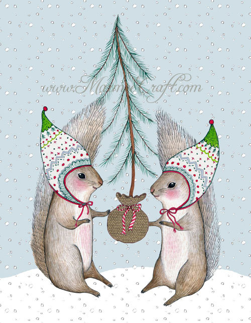 Christmas squirrel holiday art print Merry Little by MarmeeCraft
