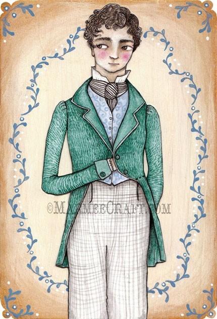 Regency boy art print A Gentleman Caller by MarmeeCraft on Etsy