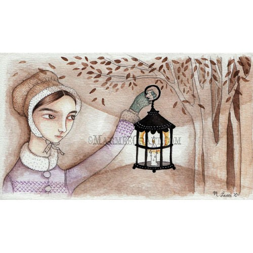 Girl with lantern art print Autumn Fog by MarmeeCraft on Etsy