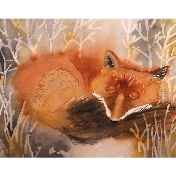 Art Watercolor Print Fox Red Fox neutral colorsForest by LaBerge