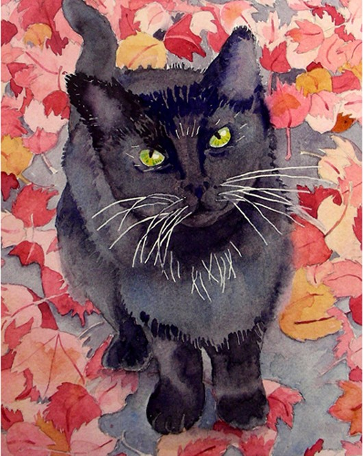 SALE Cat Art Watercolor Print Black Cat Green Eyes For by LaBerge